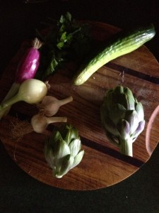 artichokes and other veg.