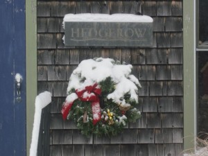 wreath in snow